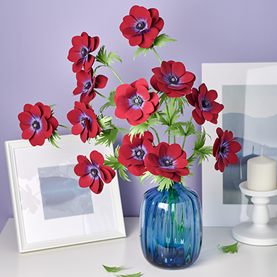 handmade paper anemone bordeaux flowers