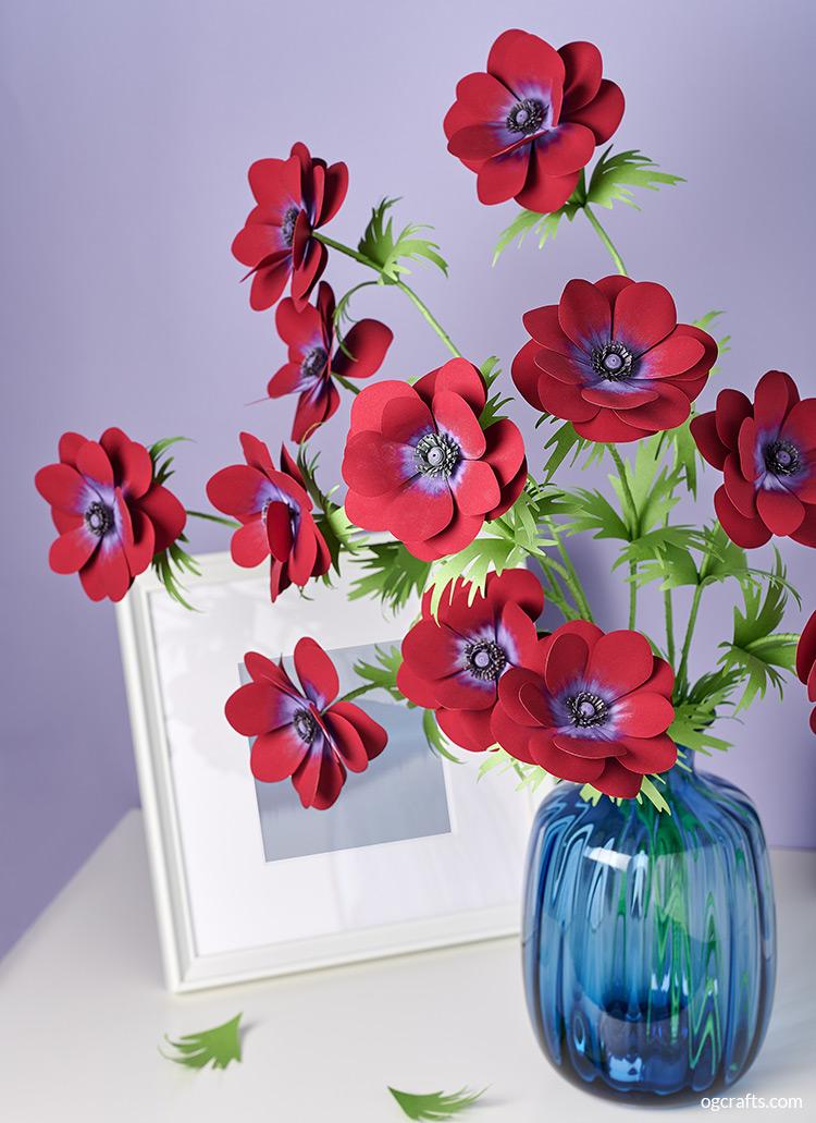handmade paper flowers anemone bordeaux