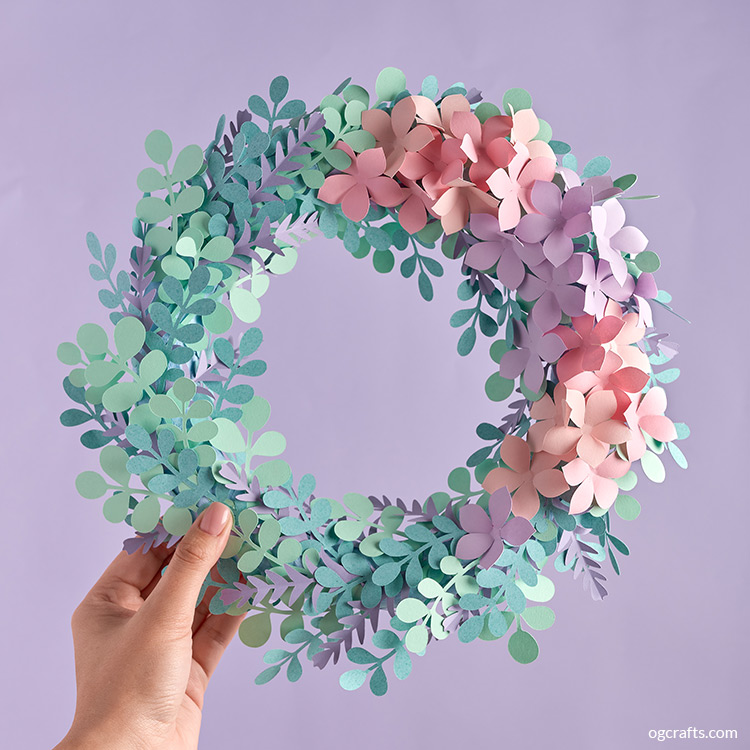 Handmade paper flower wreath