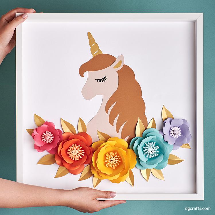 Handmade paper flowers unicorn frame