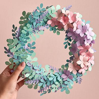 Paper eucalyptus and hydrangea wreath