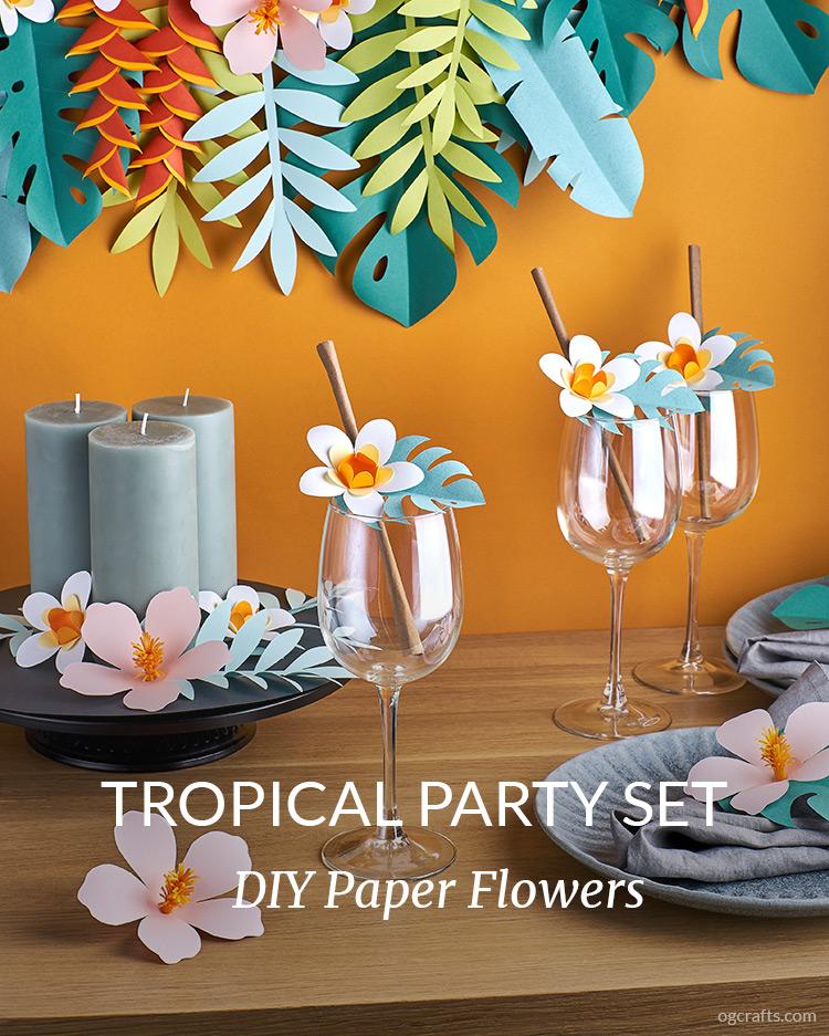Paper tropical party decor