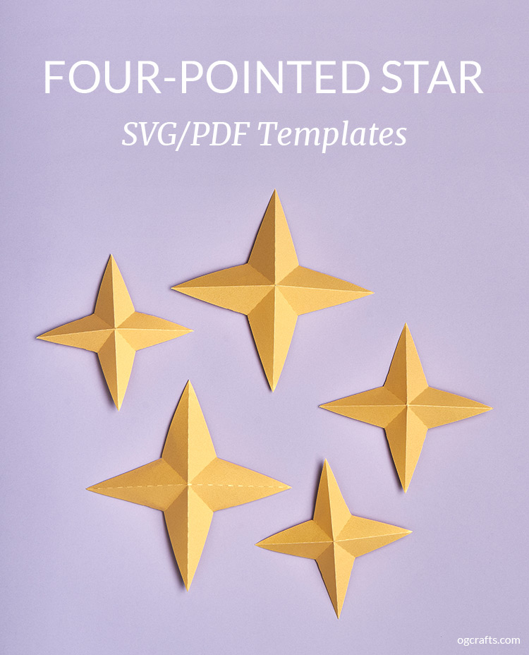 paper four-pointed star svg template