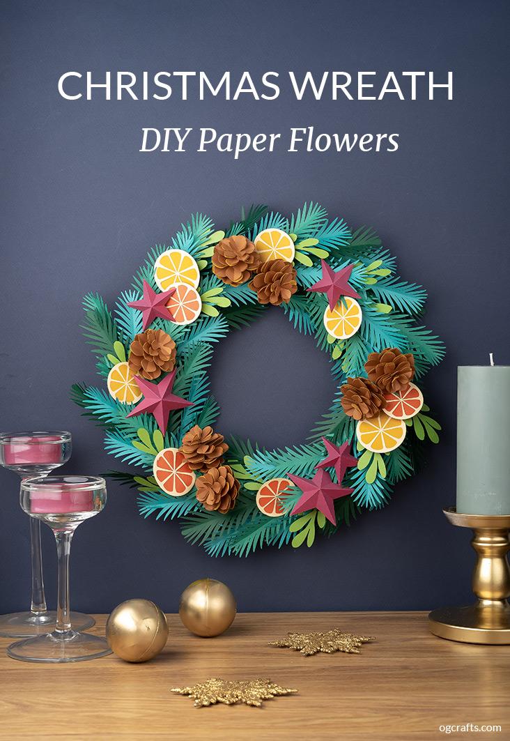 DIY paper Christmas wreath tutorial